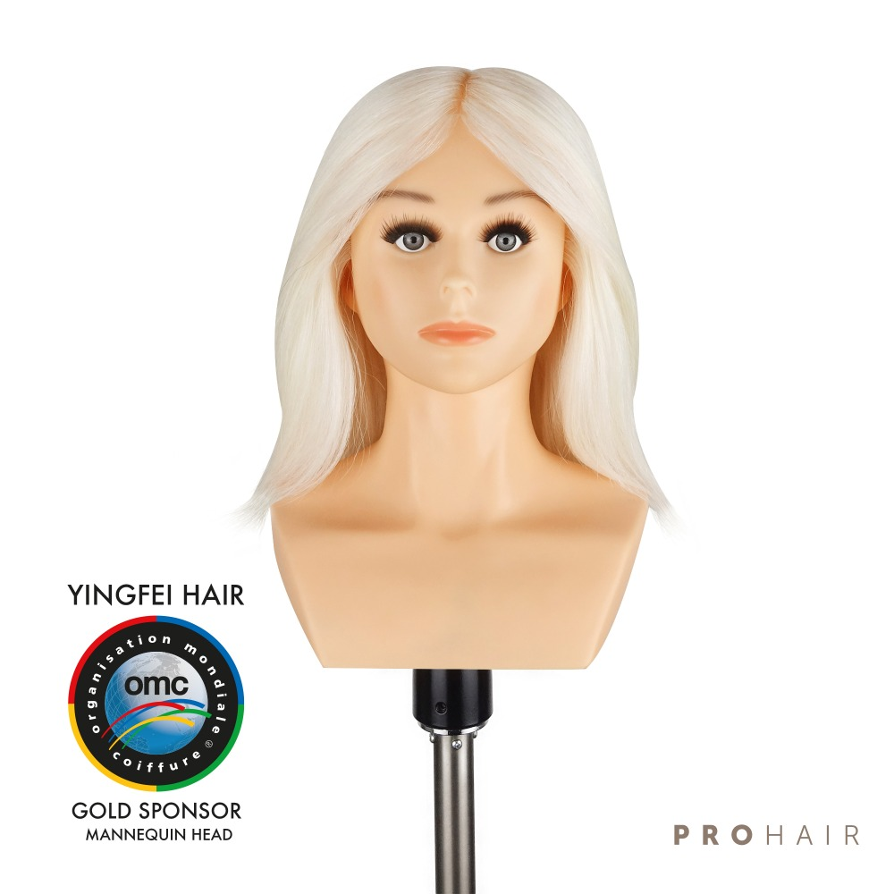 PROHAIR OMC Approved 30CM 12 100 White Goat Hair Competition Mannequin Head Hairdressing Mannequin Doll Head