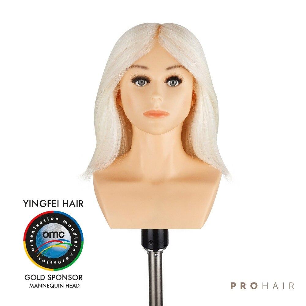 PROHAIR OMC aprobado 30 CM 12 ''100% pelo de cabra blanco competencia maniquí cabeza de peluquería maniquí cabeza de muñeca para peluquería-in Maniquís from Hogar y Mascotas    1