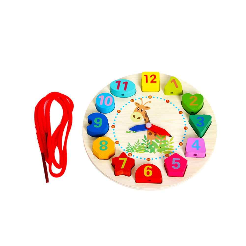 Smart en bois Figure réveil jouets cognitifs forme numérique jouet apprentissage numéros de temps multi-fonction assemblage jouet pour enfants