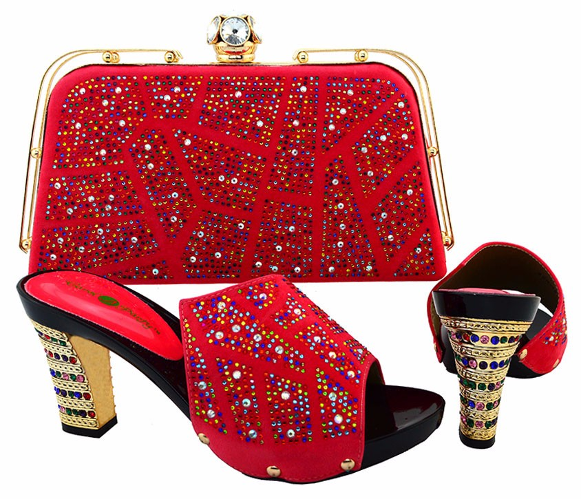 ФОТО New Coming Most Selling High Quality Evening Dress with Shoes And Bag Set African Shoe And Bag Set For Wedding Red Color BCH-19