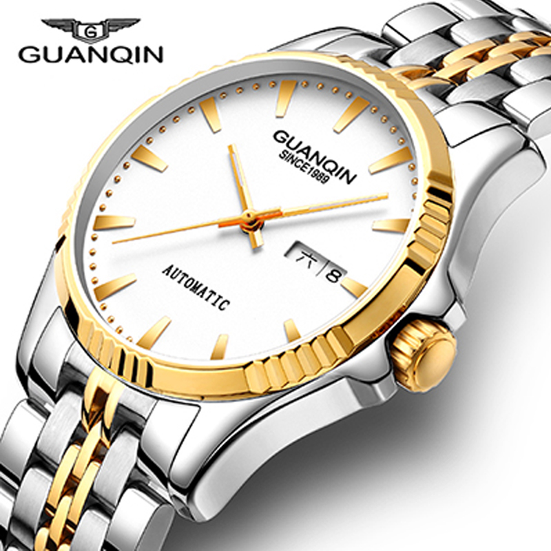 GUANQIN Automatic Mechanical Watch Men Luxury Brand Mens Watches Sapphire Wristwatches Waterproof relogio masculino 2018 guanqin men automatic mechanical watch diamond waterproof sapphire watches steel men luxury top brand menb gold wristwatches