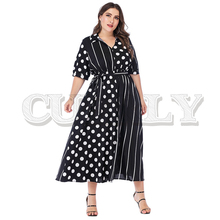 CUERLY Plus size dot print women long dress Elegant v-neck sashes A-line patchwork long dress Summer casual streetwear dress