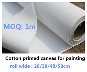 Hand-Painting Canvas-Roll Blank Practice White Primed for 28/38/48/58cm Wide 280g 100%Cotton