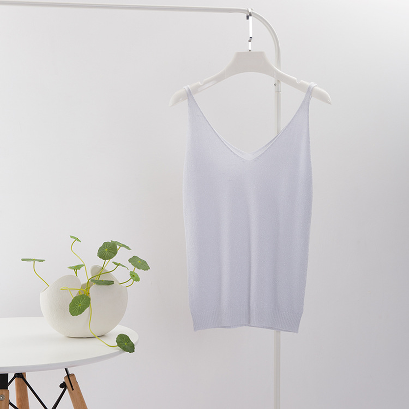 Image 5 - Crop Tops Women 2018 Sexy Knitted Tank Top Gold Thread Top Vest Summer Camisole Women White Tank Top Fitness Femme Camis T Shirt-in Camis from Women's Clothing