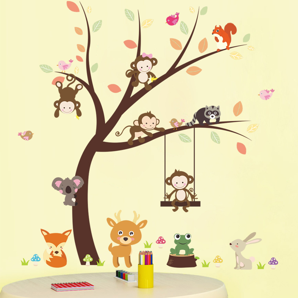 Monkey tree branch pattern wall stickers children room baby room ...