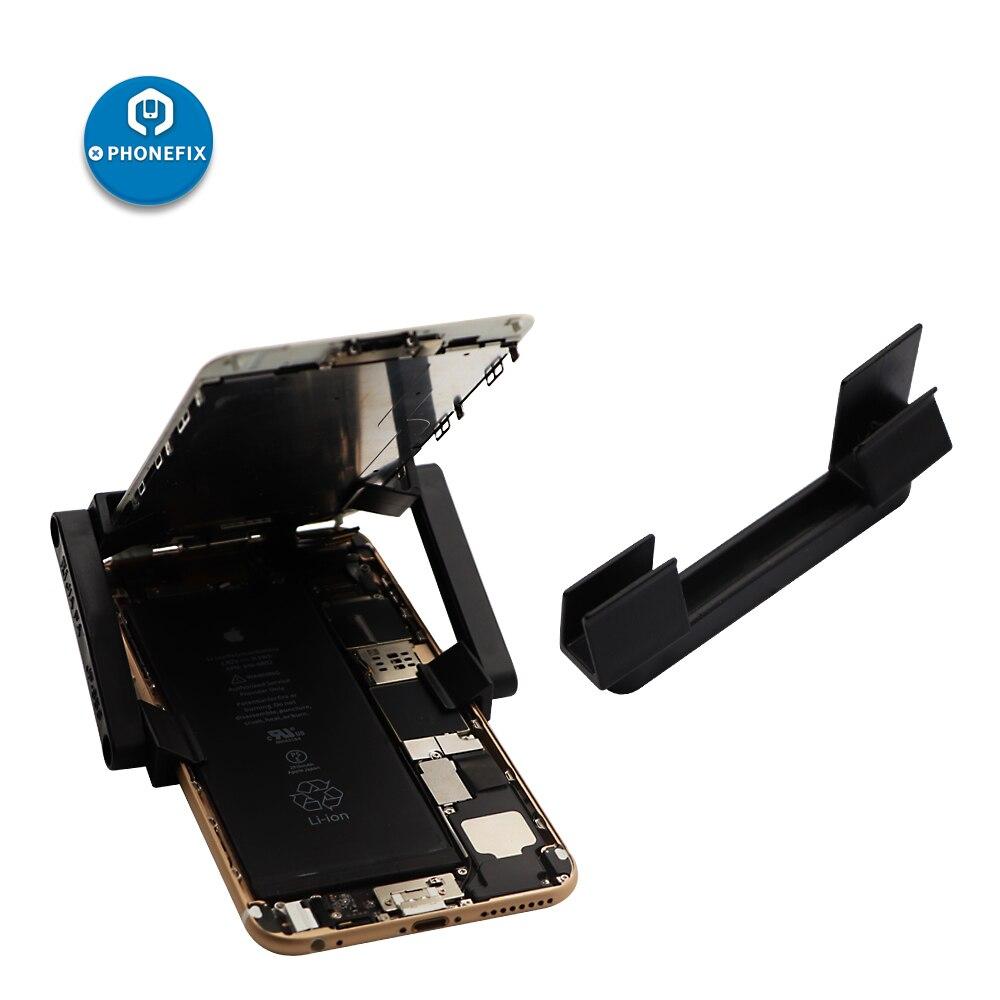 Soporte de reparaci/ón de tel/éfono m/óvil giratorio con pinzas de sujeci/ón para pantalla LCD para iPhone y iPad 2 unidades