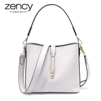 Zency 100% Genuine Leather Fashion Women Tote Bag Bucket Lady Casual Shopping Bags Elegant Shoulder Messenger Purse White Black
