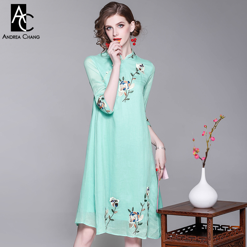 spring summer woman dress colorful floral pattern embroidery pink green dress vintage a-line knee length XXL Chinese style dress ибп 3cott 800 cml