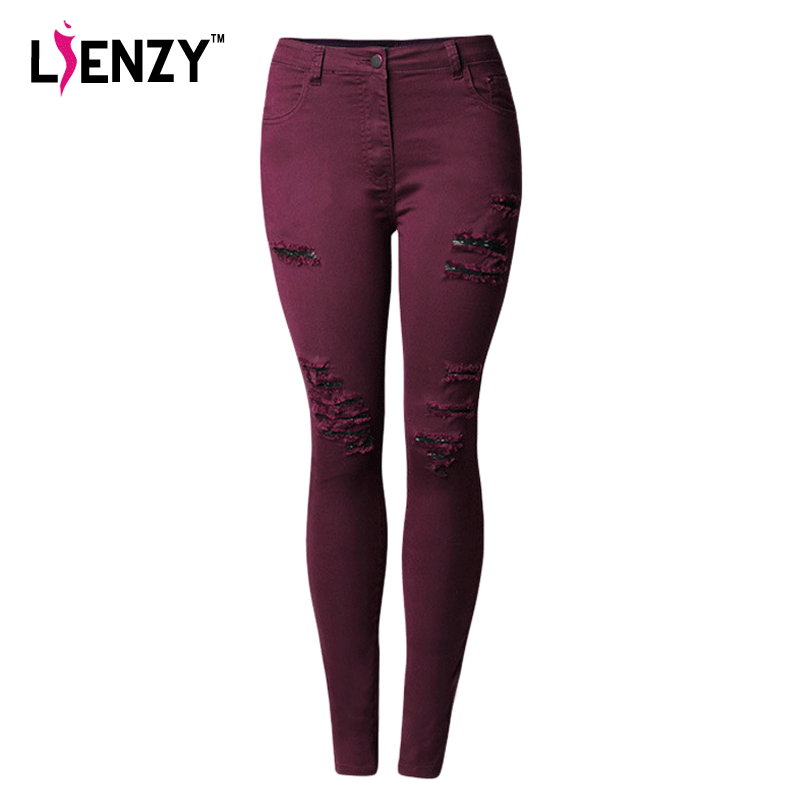 LIENZY Spring Red Ripped Women Jeans Bodycon Hole Strached Low Waist Skinny Long Denim Pencil Jeans Plus Size 4XL liva girl spring women low waist sexy knee hole skinny jeans brand fashion pencil pants denim trousers plus size ripped jeans