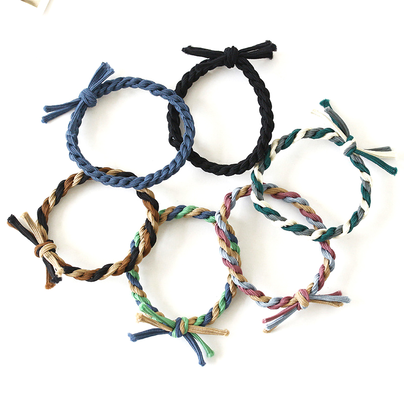 5PCS Elastic Hair Bands Bow Knot Cute Rubber Band Fashion Braided Stretch Hair Ties Ponytail Holder Hair Ornaments Random Color