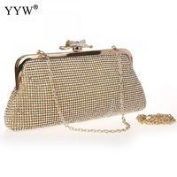 YYW Clutch Bags for Women 2018 Gold Frame Bag with Rhinestone Luxury Handbags Women Bags Designer Silver Party Shoulder Bag