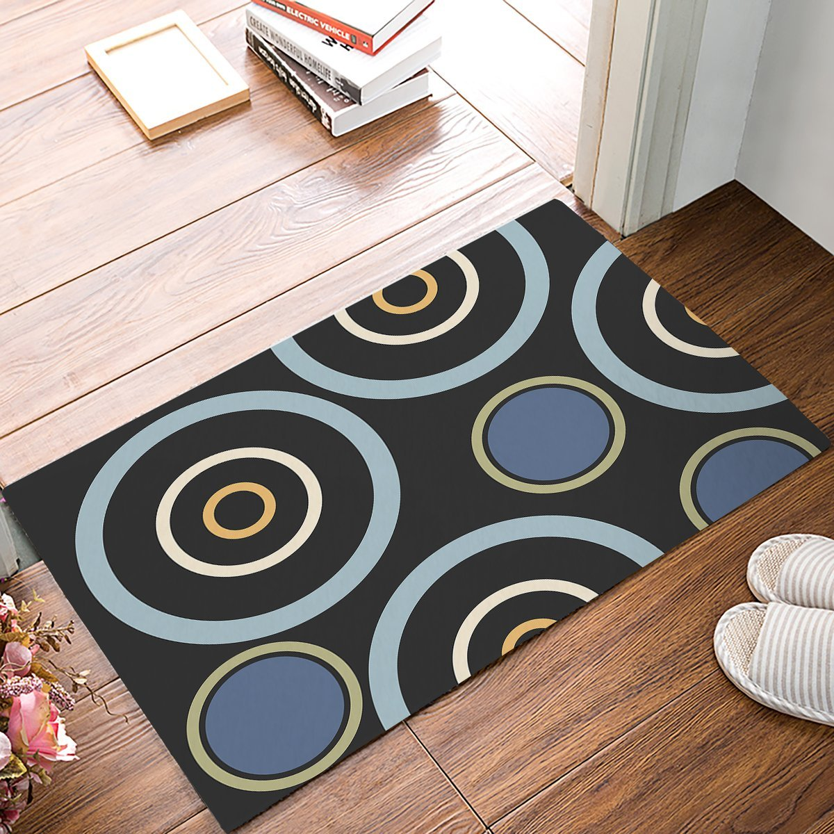 Modern Contemporary Colorful Circles Geometric Welcome Door Mats Kitchen Floor Bath Entrance Rug Mat Absorbent Indoor Bathroom