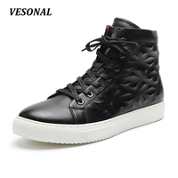 VESONAL 2017 Ankle Boots Men Shoes Fashion Fretwork Side Zip High Top Quality PU Mens Shoes