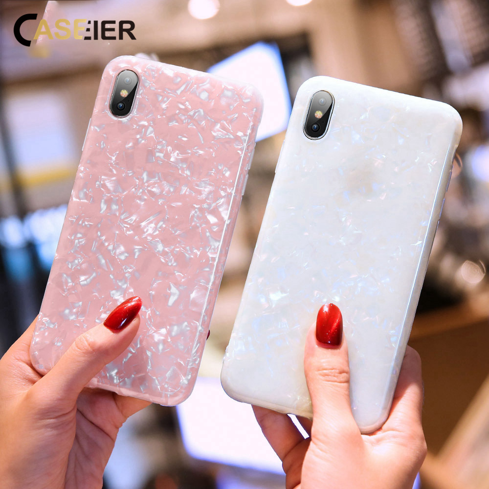 CASEIER Shell Pattern Case For iPhone X XR XS MAX Glitter Soft TPU Cover iPhone10 6 6s 7 8 Plus Capinhas Funda