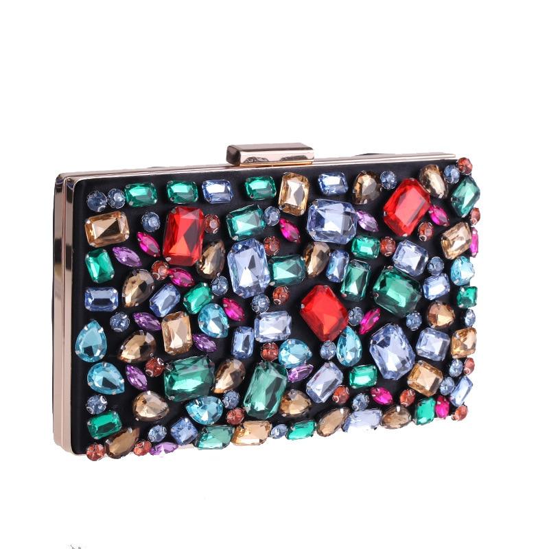 Handmade Evening Party Clutch 2018 Designer For Women Envelope Buckle Wedding Bride Handbag Multicolor Rhinestones Shoulder Bag