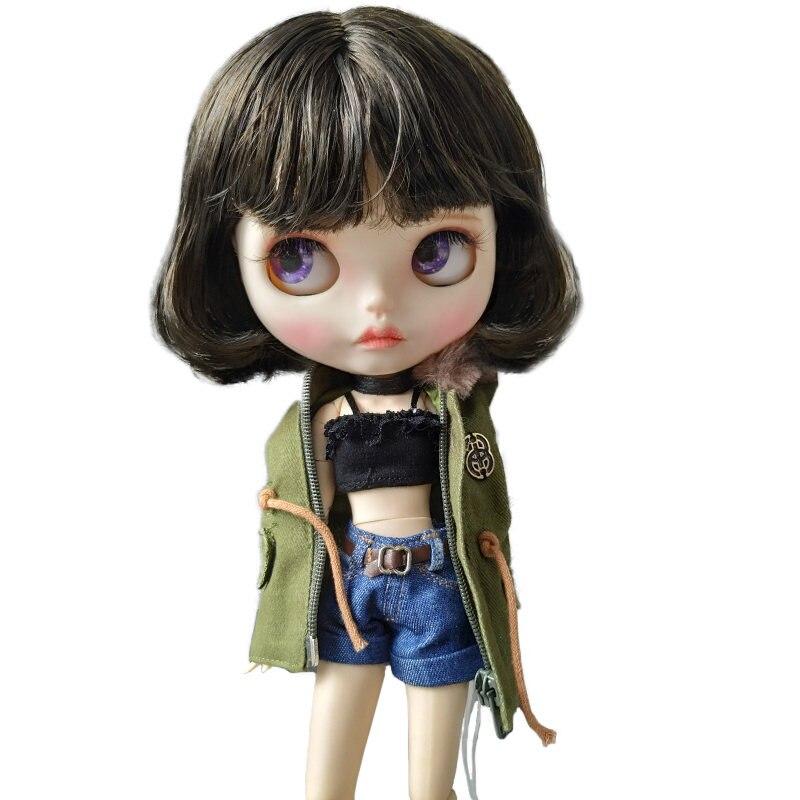 Хорошее качество Blyth кукла с матовым лицом и короткий завиток волосы активные движущиеся тела куклы с подвижными суставами для продажи горя