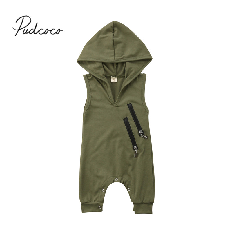 2018 Brand New Newborn Toddler Baby Girls Boys Summer Casual Active Romper Sleeveless Hooded Solid Zipper Innrech Market.com