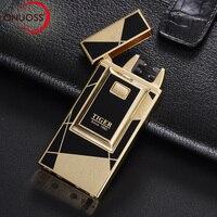 ONUOSS Elektronische Zigarette USB Feuerzeuge Tiger Dual Pulsed Arc Leichter Winddicht Donner Metall Plasma Wiederaufladbare Fackel Leichter