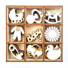 Коробка из 45 различных мини деревянных детских форм ремесла украшения для детского душа 1 день рождения украшения сувениры