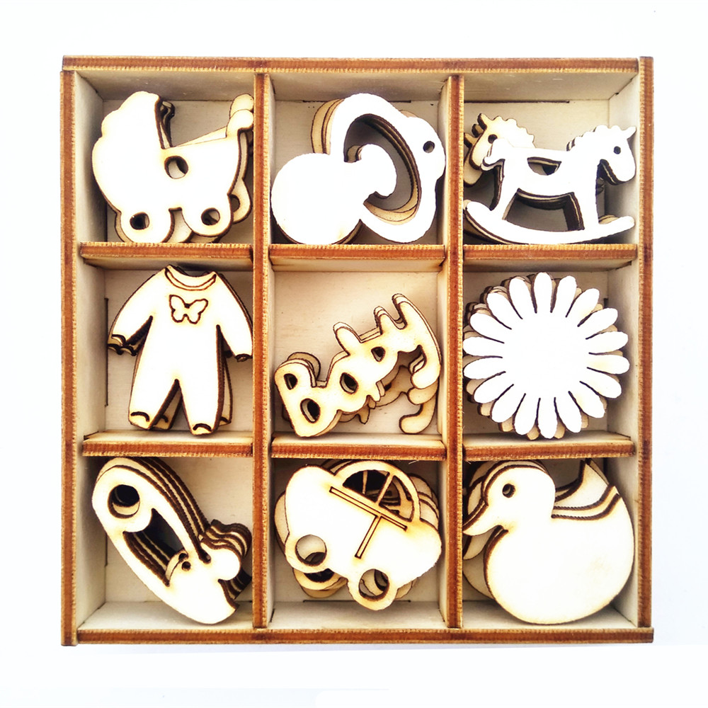 Wooden craft boxes to decorate - Box Of 45 Assorted Mini Wooden Baby Shapes Craft Embellishments Baby Shower 1st Birthday Decorations Favors