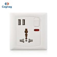 купить Cognag White Universal Wall Socket With Dual USB Port Plug Adapter Single Power Socket 2 USB  2100mA дешево