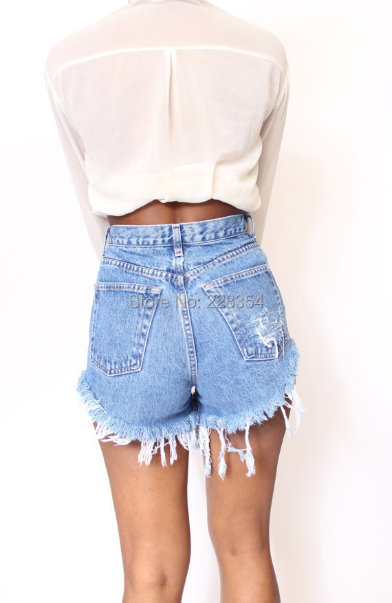 1e31c6933cd Aliexpress.com   Buy 2014 Destroyed Dirty Ripped Distress High Waist Denim  Shorts Jeans for women feminino feminina from Reliable denim shorts jeans  ...