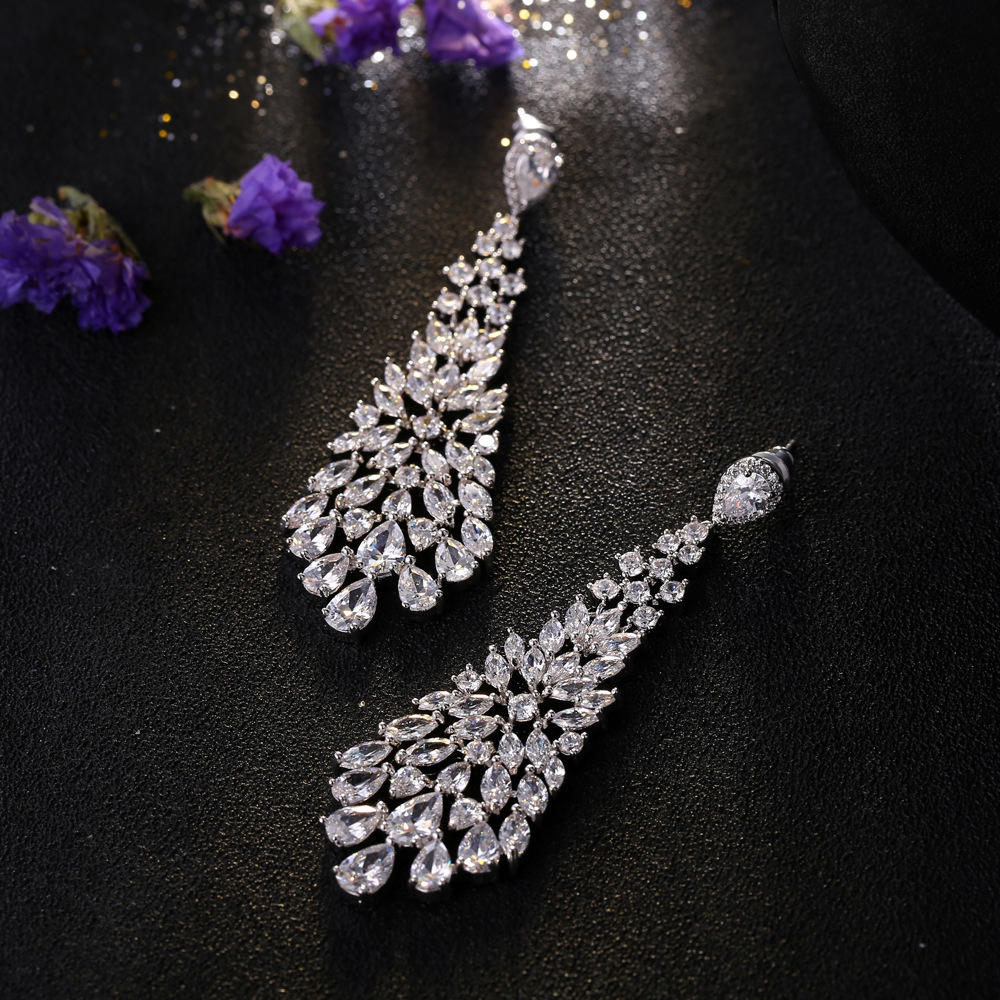 XOWSHINE White Luxury Dangle Earrings Women AAA Cubic Zirconia Long Ear Pendant Genuine 1 Plated CLaires Wedding Jewelry