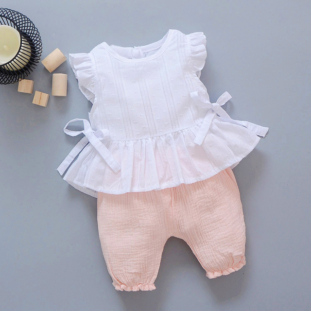 2019 New Summer Baby Girls Clothing Children Lace T-Shirt Shorts 2pcs/Sets Infant Suit Comfortable Cotton Kids Casual Tracksuits 4