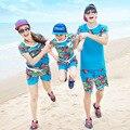 Летний стиль семьи комплект одежды хлопок цветочный печать с коротким рукавом рубашки пляж мода стиль семья спорт устанавливает Большой размер