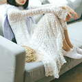 Sweety hollow out flowal lace long sleeves white dress cute spring long dress