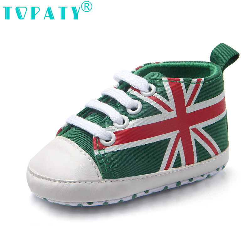 TOPATY 2018 Brand New Lace-Up canvas Baby Girls Boys Soft-Soled Toddler shoes Mi word flag Kids Sneakers Sapatos Bebe
