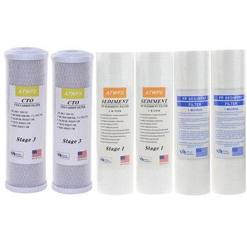 ATWFS Acqua Filtro Caridge 2 pcs 1 Micron PPF Cotone + 2 pcs 5 Micro PPF Cotone + 2 pcs carbone Attivo Cartuccia di Sistema Ad Osmosi Inversa