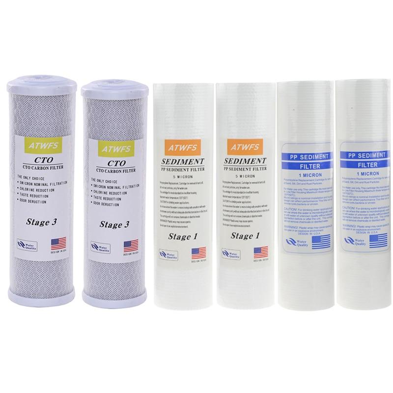 ATWFS Filtro per L'acqua Caridge 2 pz 1 Micron PPF Cotton + 2 pz 5 Micro PPF Cotton + 2 pz Cartuccia carbone Attivo Sistema Ad Osmosi Inversa