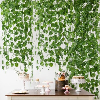 12pcs 2M Green Artificial Ivy Leaf Garland Plants Vine Fake Foliage Flowers Bonsai Leaf Home Garden Wedding Party Decoration artificial ivy green leaf wicker garland plants vine fake foliage home garden leaves osier decor fake rattan string grass cactus