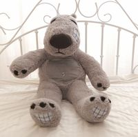 the Unlucky bear plush toy sitting gray unlucky bear doll birthday gift about 115cm