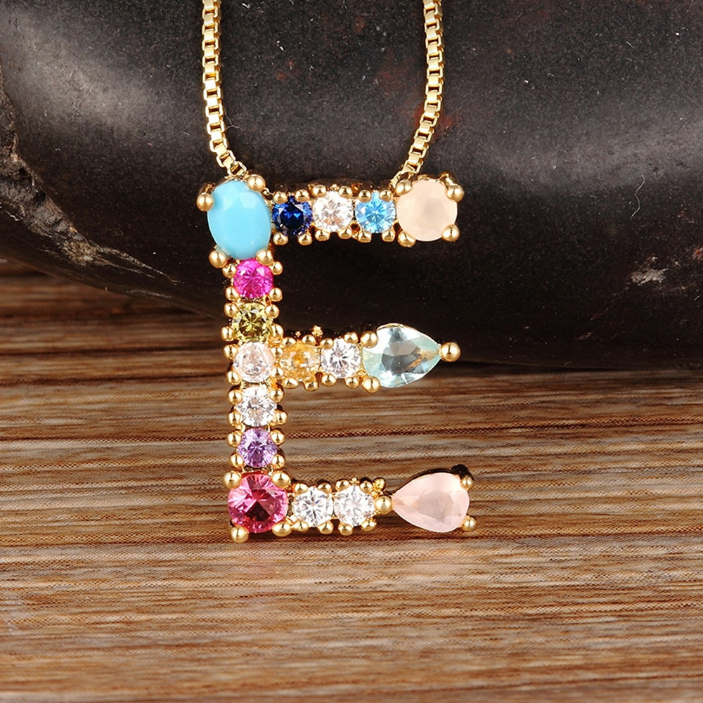 Hot Sale Gold Color Initial CZ Necklace Charm Letter Necklace Name Jewelry For Women Accessories Girlfriend Best Gift