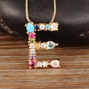 Hot Sale Gold Color Initial CZ Necklace Charm Letter Necklace Name Jewelry For Women Accessories Girlfriend Best Gift gold color initial multicolor cz necklace personalized letter necklace name jewelry for women accessories girlfriend gift