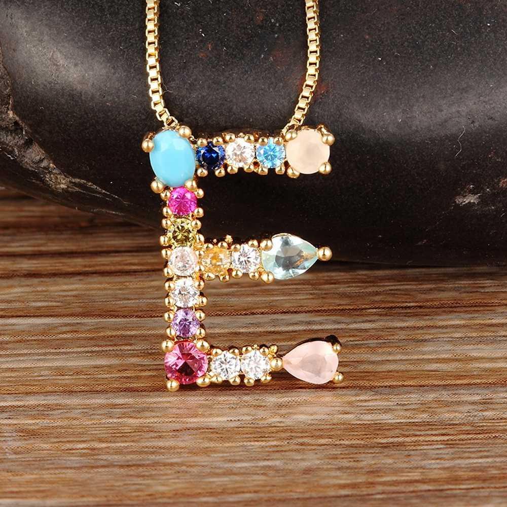 Venda quente da cor do ouro inicial cz colar personalizado carta colar nome jóias para acessórios femininos namorada melhor presente