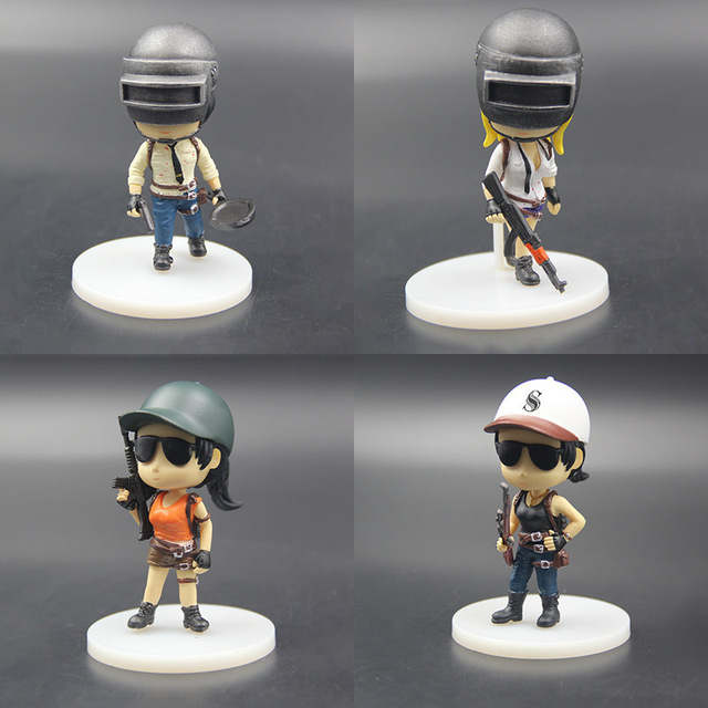 4pcs/set Q Version Figure Game Player Playerunknown's Battlegrounds Eat Chicken Pubg Toys Gift no retail box (Chinese Version)