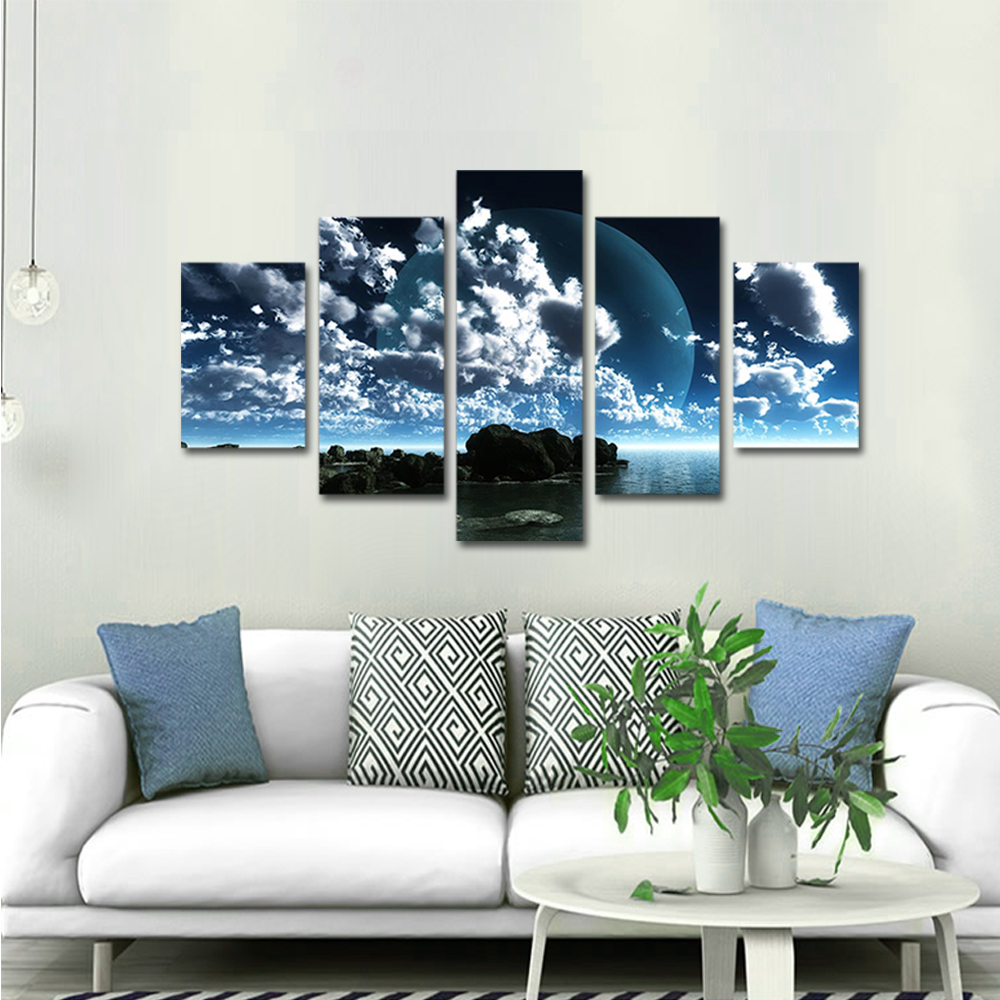 Unframed Canvas Painting Clouds Moon Reef Sea Surface Photo Picture Prints Wall Picture For Living Room Wall Art Decoration