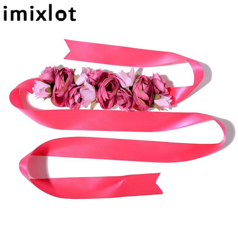 IMIXLOT Charme Élégant Fleurs Ceinture pour Femmes Filles De Noce Tissu Ceinture Élastique Ceinture Accessoires