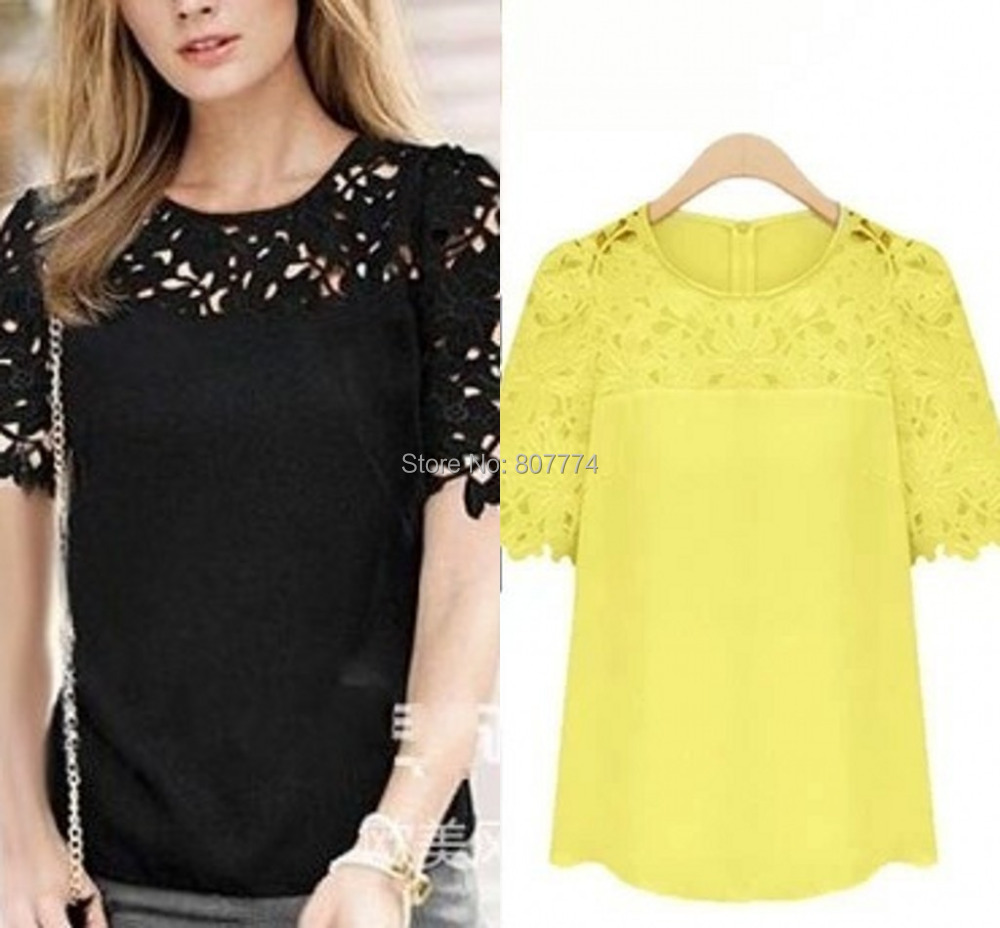 5XL Plus Size Womens Clothing NEW 2015 Summer Fashion Casual White Short Sleeve Crochet Lace Chiffon Blouses Women Tops T45010 - One Two Three Mall store