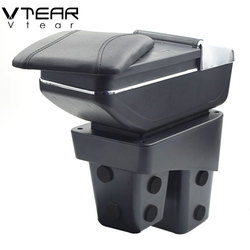 Vtear for Honda WRV car armrest leather storage box USB arm rest car-styling ABS interior parts center console accessories 2018