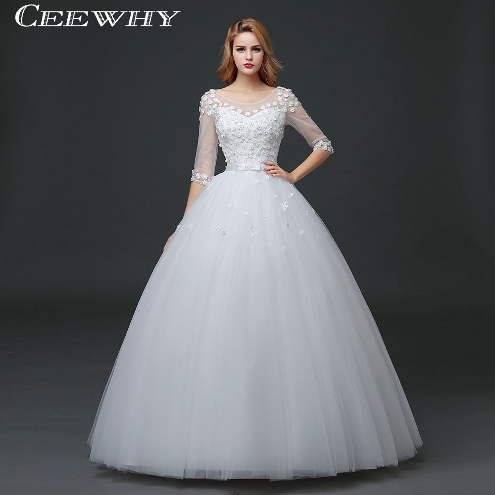 Fansmile Short Sleeve Vintage Lace Up Ball Wedding Dresses 2017 ...