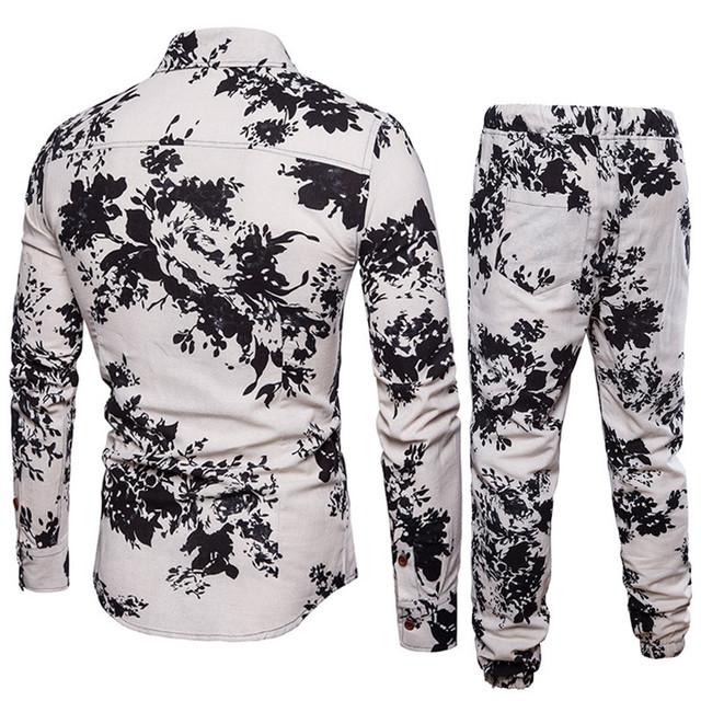 Fashion Flower Printed Men's Suit Set