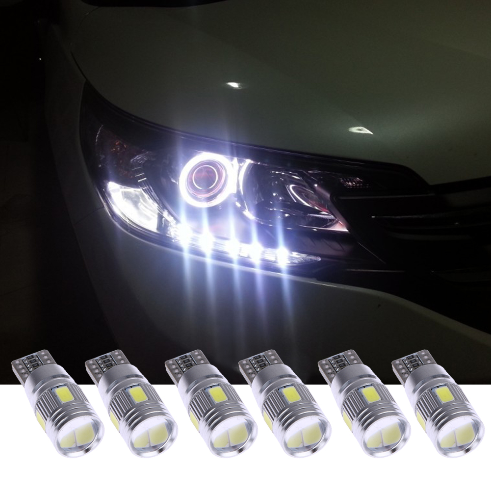 2/4/6Pcs Car LED Lights Canbus T10 5630 6SMD Decoding W5W Width Light Auto Light-emitting Diode Wedge Light Parking Lamp Bulb t10 3w 144lm 6 x smd 5630 led error free canbus white light car lamp dc 12v 2 pcs
