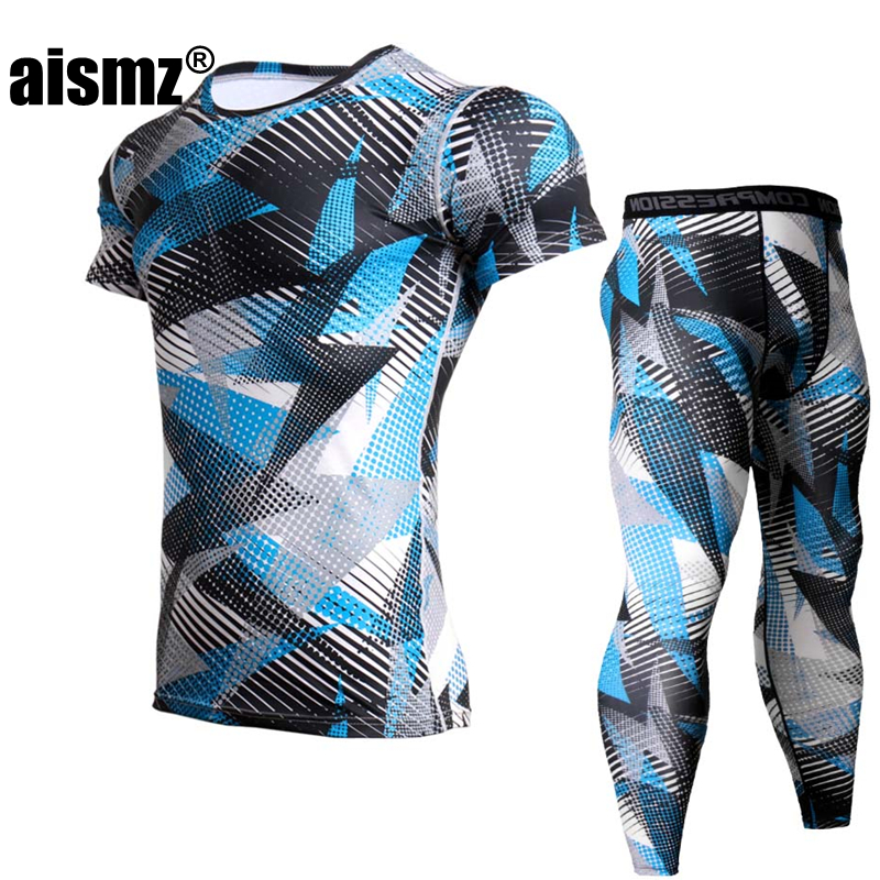 AISMZ MMA Muscle Men Tracksuit Compression Set Men Fitness Tights Fashion Short Sleeeve Shirt Legging Gyms Crossfit Clothing