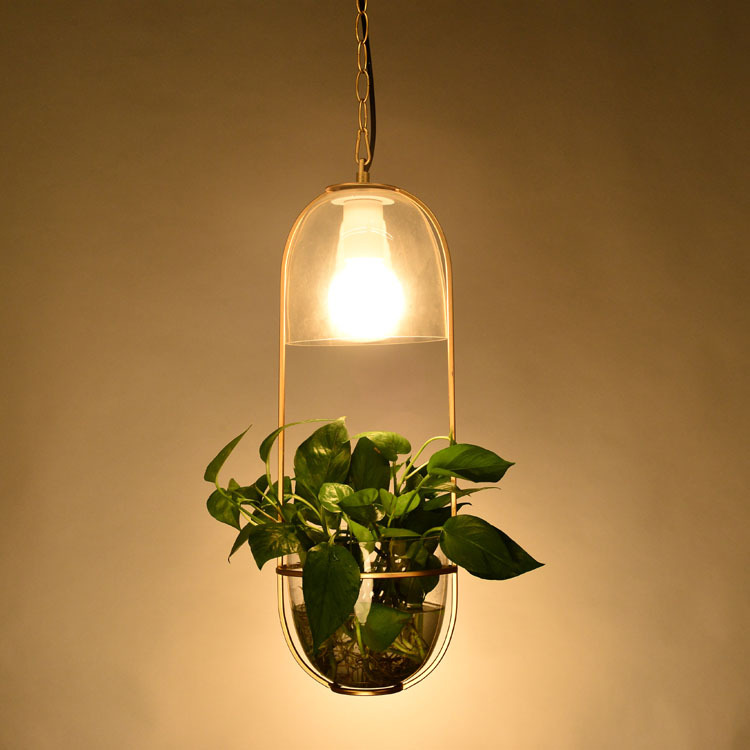 modern glass plant pendant light cafe corridor balcony villa dining room droplight