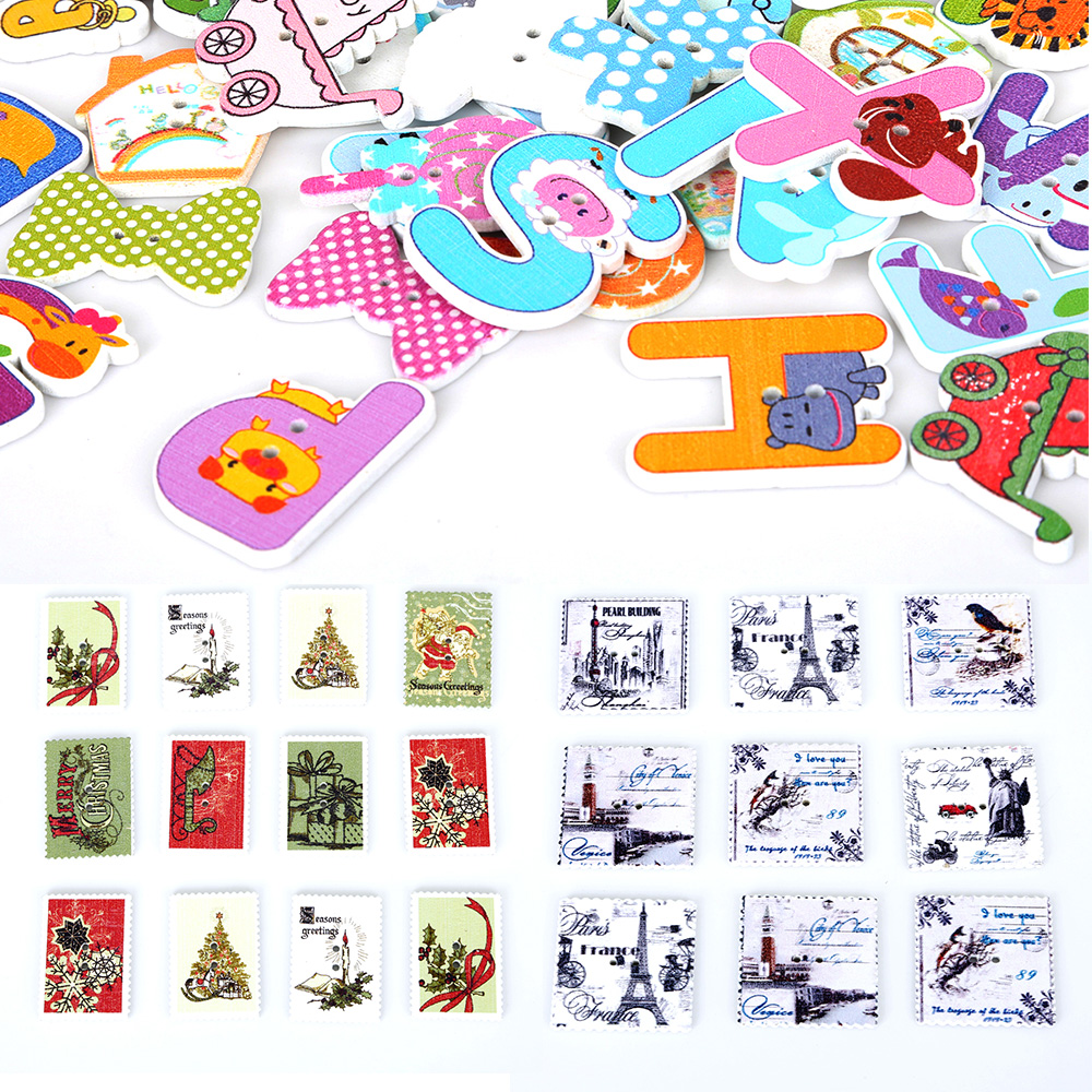 50pcs Mixed Car Wood Buttons Sewing Scrapbooking Gift Clothing Decor 19-35mm
