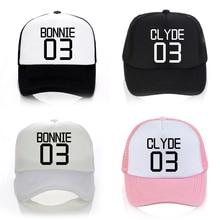 Valentine hat Women/Men Bonnie 03 CLYDE couples leisure Baseball Cap Funny letters Mesh Snapback Caps Dad Hat Bone Garros